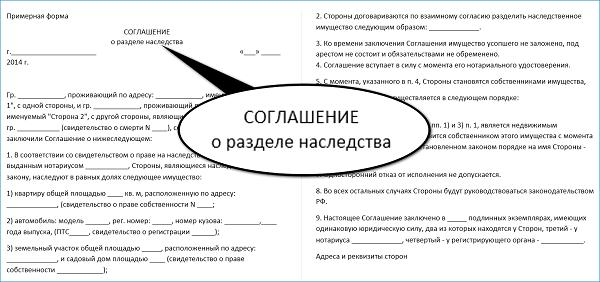 Пример соглашения о разделе наследства